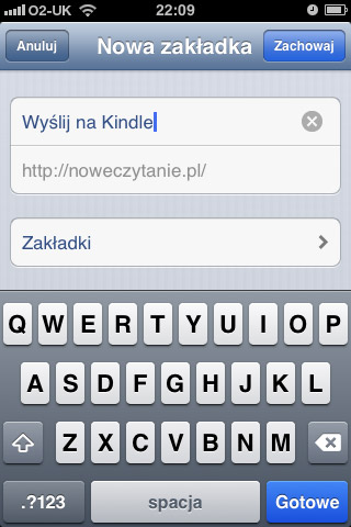 """Zmień nazwę zakładki na """"Wyślij na Kindle"""""""