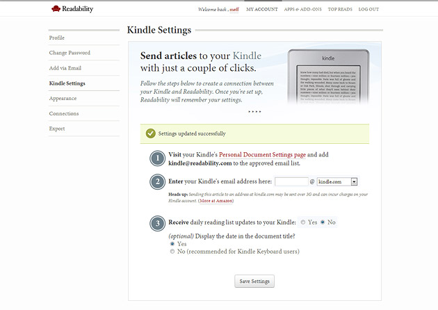 Ustawienia Readability